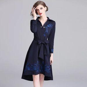 Dark blue long sleeve slim body women's dress
